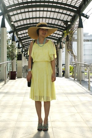 light blue Chie Mihara shoes - yellow vintage dress
