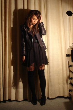 black Topshop jacket - black vintage shoes - black Lux dress - black H&amp;M socks