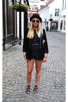 black Zara blazer - navy urban outfitters vintage romper