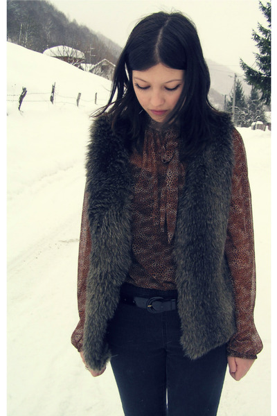 brown vintage blouse - H&M vest