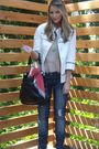 White-f21-jacket-beige-lux-shirt-blue-almost-famous-jeans-black-prada-purs