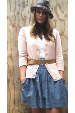 beige Rubbish cardigan - beige Gap belt - gray Forever 21 skirt - white blouse -