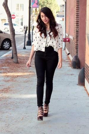 cream cactus print Forever 21 shirt - crimson platform asos heels