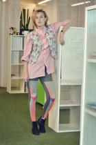 bubble gum rose pattern vintage vest - black blue part Jeffrey Campbell boots