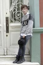 H&M jeans - asos boots - H&M hat - Spicy Color shirt - asos necklace