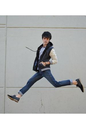 black asos boots - navy Zara jeans - blue asos jacket - black Pull & Bear hoodie