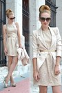 Cream-zara-dress-cream-queens-wardrobe-blazer-dark-brown-gucci-sunglasses