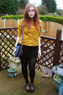 Dark-brown-office-shoes-mustard-topshop-shirt-navy-urban-outfitters-bag-bl