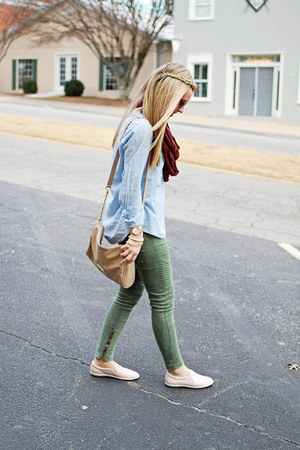 chambray Nordstrom shirt - tan Isola shoes - tan Steve Madden bag
