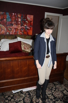 black ferragamo boots - beige pants - brown calvin klein belt - blue blazer - si