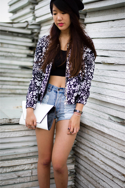 Zara jacket - Zara bag - MinkPink shorts - black cropped Express top
