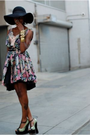 H&amp;M hat - asos shoes - vintage dress - Forever 21 accessories