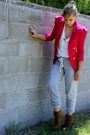 Gray-f21-pink-ebay-blazer-brown-gold-accessories