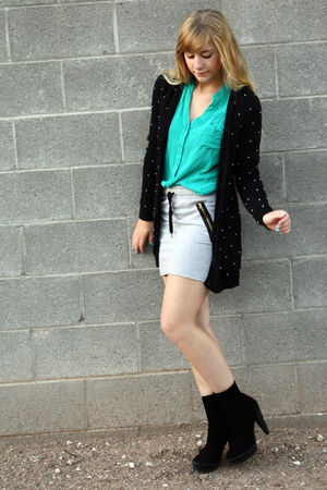 green Forever21 blouse - black H&M cardigan - gray H&M skirt
