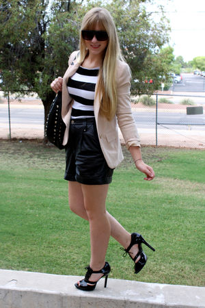 black Dillards shoes - black vintage shorts - beige H&amp;M blazer - asos sunglasses