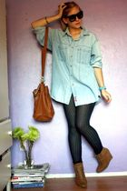 blue vintage levis shirt - brown f21 purse