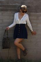 blue Forever21 skirt - white cardigan