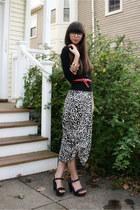 off white leopard H&M dress - black Jcrew cardigan - red H&M belt