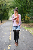light orange gifted scarf - brown Express boots - blue DIY shorts