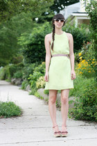 lime green asos dress - light pink Forever 21 wedges