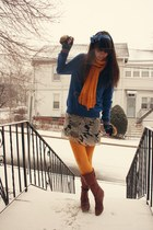blue Express sweater - gold Target scarf - off white Anthropologie skirt - gold