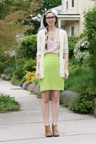 lime green vintage skirt - light brown Boutique 9 boots