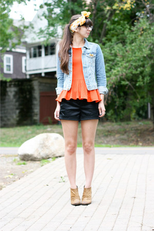 carrot orange H&M shirt - brown Boutique 9 boots - blue H&M jacket
