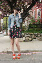 black floral Tucker for Target dress - H&amp;M jacket - red seychelles heels