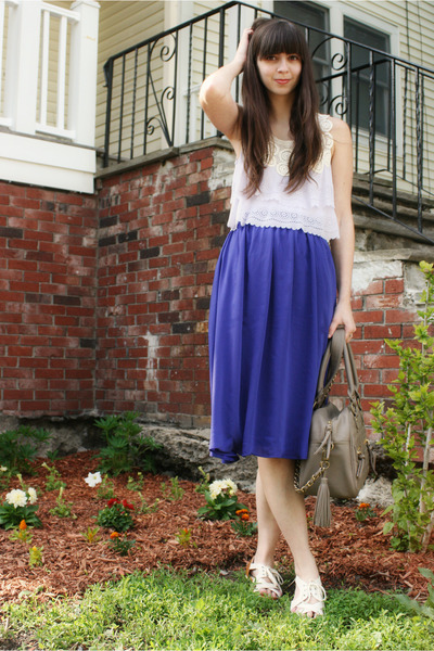 tan theIT bag - light purple Anthropologie top - violet H&M skirt - ivory Urban