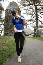 blue swapped sweater - beige Blowfish shoes - white BCBG shirt - beige theIT bag