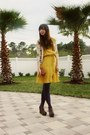 Chartreuse-ann-taylor-loft-dress-navy-urban-outfitters-tights-beige-map-prin