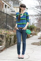 aquamarine Prada purse - navy BCBGeneration jeans - blue StyleMint t-shirt