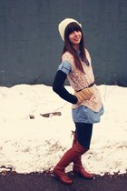 brown Vince Camuto boots - navy BCBGeneration jeans - ivory Forever21 hat - blue