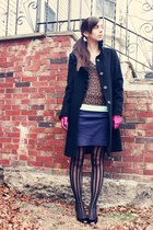 black DKNY coat - brown Express sweater - magenta coach gloves - navy American A