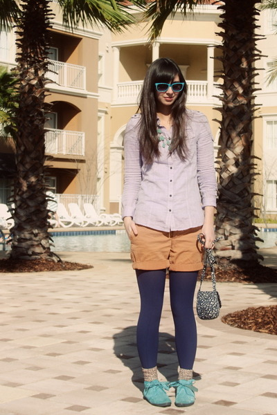 light purple Gap shirt - navy Urban Outfitters tights - navy floral H&M purse -