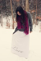 gray Express sweater - white skirt - magenta Urban Outfitters scarf - magenta Ta