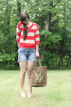 light brown Louis Vuitton bag - red Old Navy sweater - blue DIY shorts