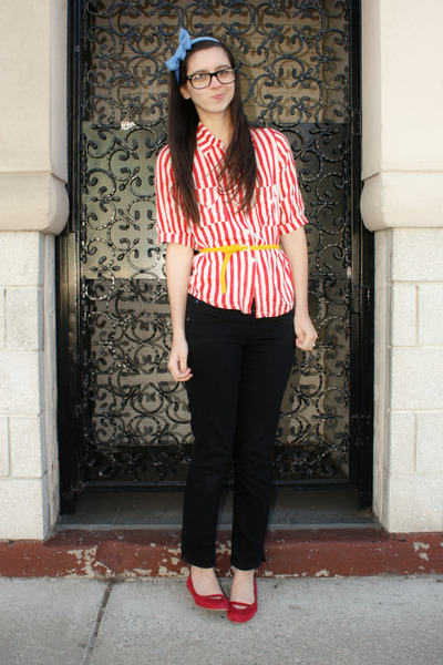 thrifted shirt - H&amp;M belt - Gap pants - headband Anthropologie accessories - mos