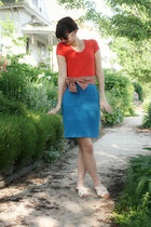 blue thrifted skirt - salmon Anthropologie belt - red thrifted t-shirt