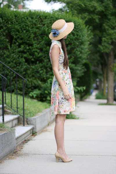 sky blue thrifted hat - salmon handmade dress - beige Forever 21 heels