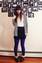 black Forever21 boots - violet Express tights - black American Apparel skirt - b