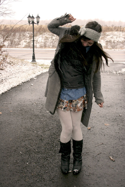 gray Urban Outfitters coat - dark gray t-shirt - blue Forever 21 shirt - off whi