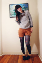 black Forever 21 boots - heather gray plaid Gap sweater - black Zara shirt - dar