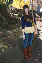 Anthropologie cardigan - JCrew shirt - Gap jeans - Frye boots - Fossil bag
