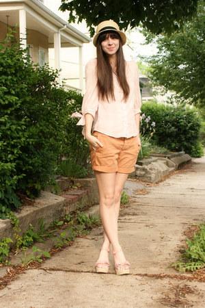 pink Forever 21 wedges - tan hat - burnt orange J Crew shorts