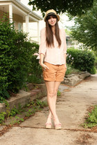 pink Forever 21 wedges - tan hat - burnt orange J Crew shorts
