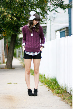 magenta Old Navy sweater - black Target boots - puce thrifted shirt