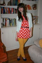 light blue JCrew cardigan - red Victorias Secret top - mustard Gap pants - navy
