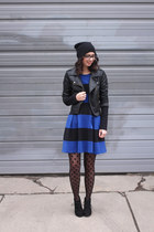 black Target boots - blue eShakti dress - black Sheinside jacket