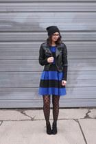 black Target boots - blue eShakti dress - black Sheinside jacket